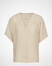 Mango Flowy Textured Blouse Bluse Kortermet Beige MANGO
