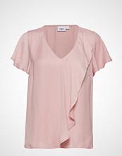 Saint Tropez Woven Top S/S Bluse Kortermet Rosa SAINT TROPEZ