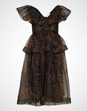 Ganni Printed Organza Dress Knelang Kjole Svart GANNI