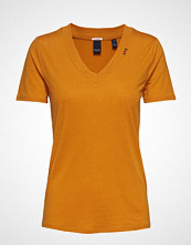 Scotch & Soda Feminine Tee With Deep V Neck In Linen Mix Quality T-shirts & Tops Short-sleeved Oransje SCOTCH & SO
