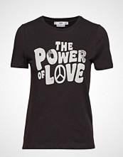 Mango Printed Cotton T-Shirt T-shirts & Tops Short-sleeved Svart MANGO