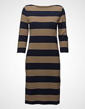 Gant O1. Striped Boatneck Dress Knelang Kjole Brun GANT
