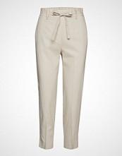 Mango Straight Linen-Blend Trousers Bukser Med Rette Ben Creme MANGO