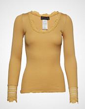 Rosemunde Silk T-Shirt Regular Ls W/Wide Lace T-shirts & Tops Long-sleeved Gul ROSEMUNDE