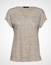 Mango Linen T-Shirt T-shirts & Tops Short-sleeved Beige MANGO