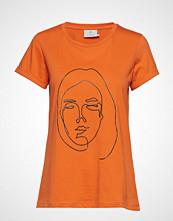 Kaffe Kafie T-Shirt T-shirts & Tops Short-sleeved Oransje KAFFE