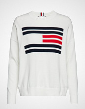Tommy Hilfiger Th Essential Flag Sweater Strikket Genser Hvit TOMMY HILFIGER