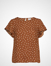 Vila Vilucy S/S Flounce Top - Fav Lux T-shirts & Tops Short-sleeved Brun VILA
