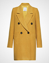 Mango Structured Wool Coat Ullfrakk Frakk Gul Mango