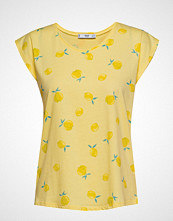 Mango Printed Cotton-Blend T-Shirt T-shirts & Tops Short-sleeved Gul MANGO