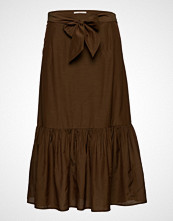 Scotch & Soda Belted Midi Length Skirt In Sheer Viscose Quality Knelangt Skjørt Brun SCOTCH & SODA