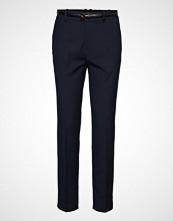 Mango Belt Straight-Fit Trousers Bukser Med Rette Ben Blå MANGO