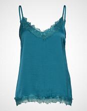 Saint Tropez R1071, Singlet Top W. Lace T-shirts & Tops Sleeveless Blå SAINT TROPEZ