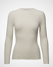 ÁERON Ribbed Slim Knit Top Strikket Genser Creme ÁERON