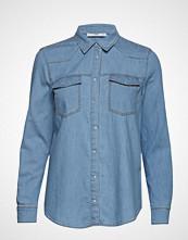 Mango Chest-Pocket Denim Shirt Langermet Skjorte Blå MANGO