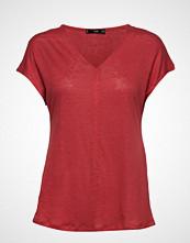 Mango Linen T-Shirt T-shirts & Tops Short-sleeved Rød MANGO