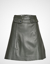 Selected Femme Slfmina Hw Leather Skirt B Kort Skjørt Svart SELECTED FEMME