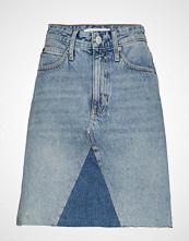 Calvin Klein Mid Rise Mini Skirt, Kort Skjørt Blå CALVIN KLEIN JEANS