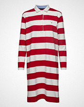 Gant O1. Striped Heavy Rugger Dress Knelang Kjole Rød GANT