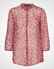 French Connection Bruna Crinkle Collarless Shirt Bluse Langermet Rosa FRENCH CONNECTION