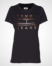 Tommy Jeans Tjw Metallic Logo Te T-shirts & Tops Short-sleeved Svart TOMMY JEANS