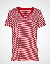 Mads Nørgaard Organic Fav Stripe Trimmy V T-shirts & Tops Short-sleeved Rød MADS NØRGAARD