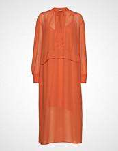 Calvin Klein Georgette Pi Er Dr Knelang Kjole Oransje CALVIN KLEIN