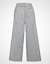 Banana Republic High Rise Wide Leg Crop Linen Stripe Vide Bukser Blå BANANA REPUBLIC