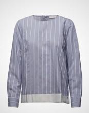 Coster Copenhagen Striped Shirt Blouse W. Ribbon Edge Bluse Langermet Blå COSTER COPENHAGEN