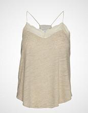Mango Linen Lace Top T-shirts & Tops Sleeveless Beige MANGO