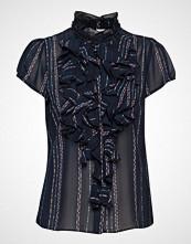 Saint Tropez U1000, Woven Top Short Sleeves Bluse Kortermet Svart SAINT TROPEZ