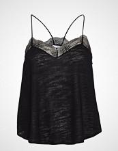 Mango Linen Lace Top T-shirts & Tops Sleeveless Svart MANGO