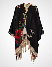 Desigual Accessories Poncho Flowe Rev. Skjerf Svart DESIGUAL ACCESSORIES
