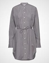 Calvin Klein Mini Gingham Pintuck Dress Ls Kort Kjole Grå CALVIN KLEIN