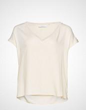 Violeta by Mango Metallic Details Blouse Bluse Kortermet Creme VIOLETA BY MANGO
