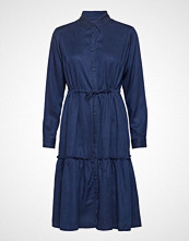 French Connection Floreta Drape Tiered Shirt Dress Knelang Kjole Blå French Connection