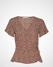 Mango Wrap Printed Blouse Bluse Kortermet Brun MANGO