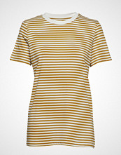 Selected Femme Slfmy Perfect Ss Tee Box Cut-Stri Color T-shirts & Tops Short-sleeved Gul SELECTED FEMME