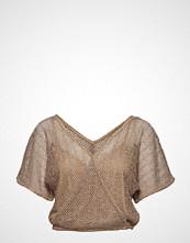 Mango Openwork Knit T-Shirt Bluse Kortermet Beige MANGO