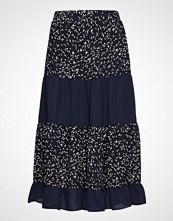 Saint Tropez U8019, Woven Skirt Below Knee Knelangt Skjørt Blå SAINT TROPEZ