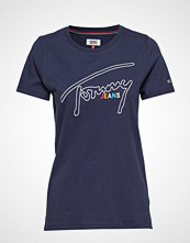 Tommy Jeans Tjw Outline Signatur T-shirts & Tops Short-sleeved Blå TOMMY JEANS