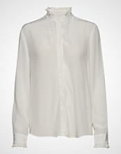 Gant D1. Solid Crepe Frill Shirt Langermet Skjorte Hvit GANT