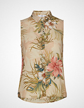 Mango Floral Print Shirt Bluse Ermeløs Beige MANGO