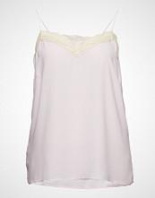 Violeta by Mango Lace Trim Top T-shirts & Tops Sleeveless Rosa VIOLETA BY MANGO