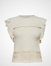 Mango Ruffle Knit Top T-shirts & Tops Sleeveless Creme MANGO