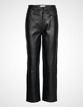Selected Femme Slfnola Hw Cropped Leather Pants W Vide Bukser Svart SELECTED FEMME