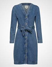 Selected Femme Slfstudios Mid Blue Denim Dress W Knelang Kjole Blå SELECTED FEMME