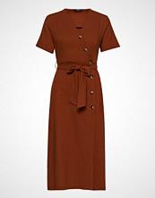 Only Onlbella 3/4 Button Dress Wvn Knelang Kjole Brun ONLY