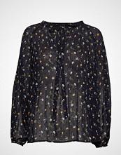 Mango Sheer Flower Blouse Bluse Langermet Blå MANGO