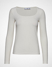 Mango Ribbed T-Shirt T-shirts & Tops Long-sleeved Hvit MANGO